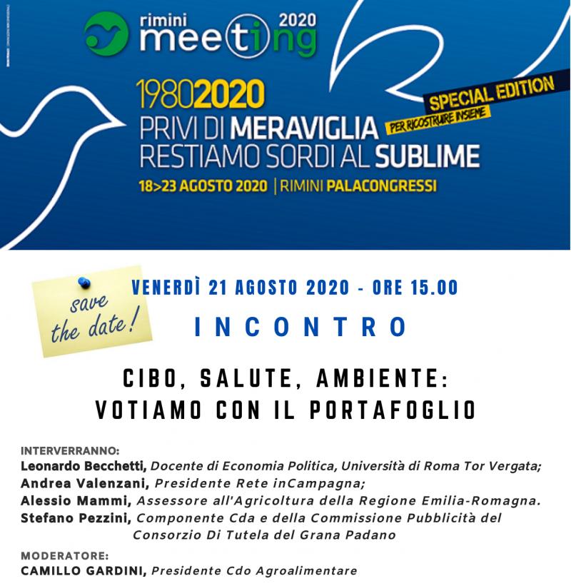 """In diretta online: """"Cibo, Salute, Ambiente: votiamo con il portafoglio"""" - Venerdì 21 Agosto, Meeting di Rimini 2020"""